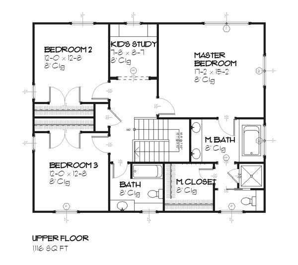 Colonial Floor Plan - Upper Floor Plan Plan #901-27