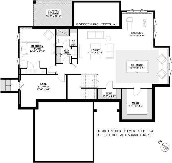 House Plan Design - Colonial Floor Plan - Lower Floor Plan #928-334