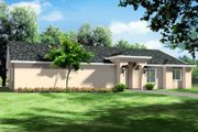 Adobe / Southwestern Style House Plan - 4 Beds 3 Baths 2129 Sq/Ft Plan #1-1442 Exterior - Front Elevation