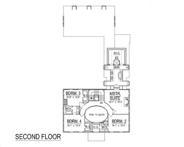 Colonial Floor Plan - Upper Floor Plan Plan #458-6