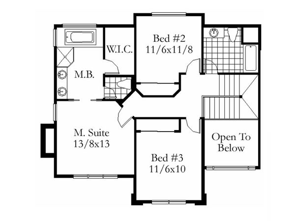 Modern Floor Plan - Upper Floor Plan Plan #509-49