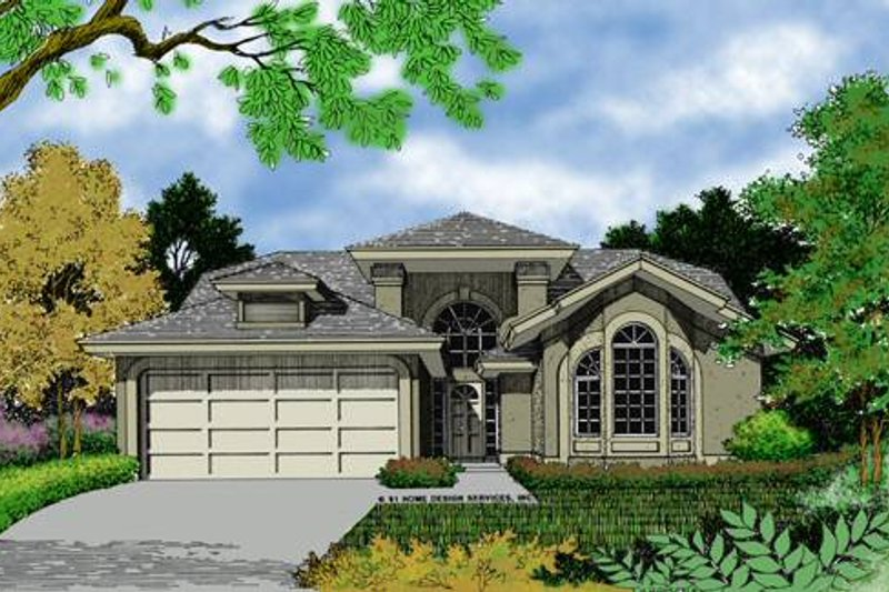 European Style House Plan - 3 Beds 2 Baths 1280 Sq/Ft Plan #417-110 Exterior - Front Elevation