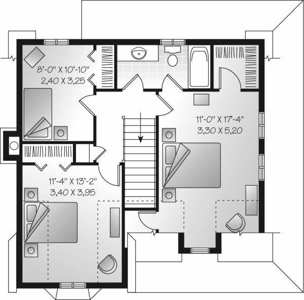 Traditional Floor Plan - Upper Floor Plan Plan #23-677