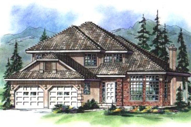 Architectural House Design - European Exterior - Front Elevation Plan #18-247