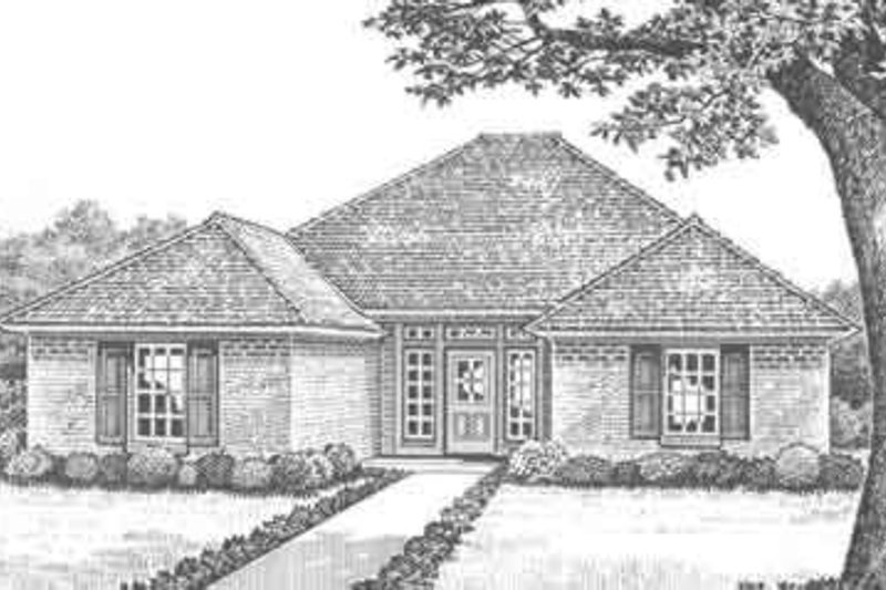 European Style House Plan - 3 Beds 2 Baths 1426 Sq/Ft Plan #310-284 Exterior - Front Elevation