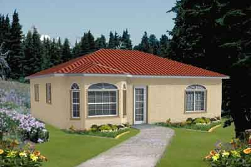 Mediterranean Style House Plan - 1 Beds 1 Baths 784 Sq/Ft Plan #1-115 Exterior - Front Elevation