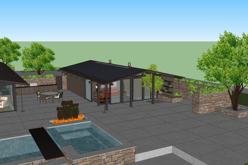 Ranch Style House Plan - 1 Beds 1 Baths 920 Sq/Ft Plan #544-4 Exterior - Front Elevation