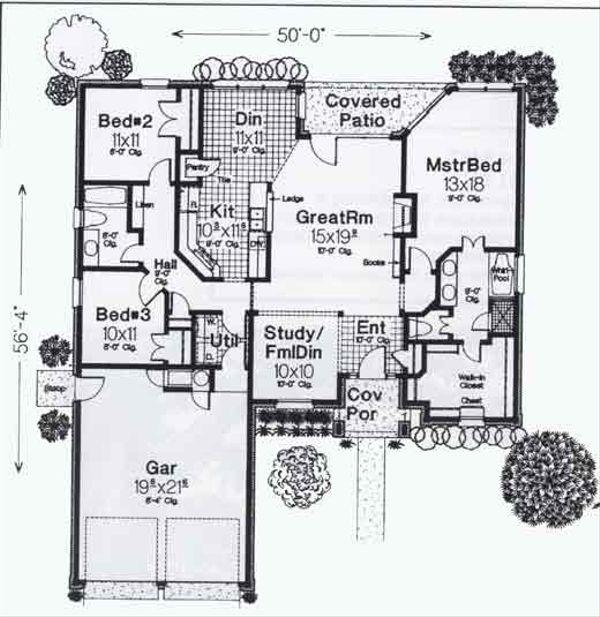 Colonial Floor Plan - Main Floor Plan #310-806