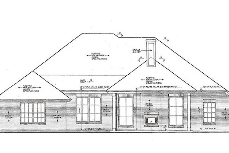 European Exterior - Rear Elevation Plan #310-970 - Houseplans.com