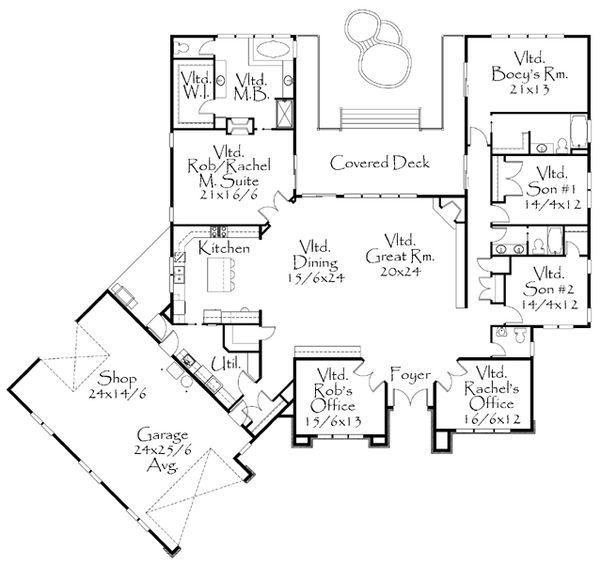 Modern Style House Plan - 4 Beds 3.5 Baths 3996 Sq/Ft Plan #509-9 Floor Plan - Main Floor Plan