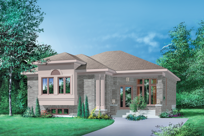 Contemporary Style House Plan - 3 Beds 1 Baths 1348 Sq/Ft Plan #25-1078 Exterior - Front Elevation