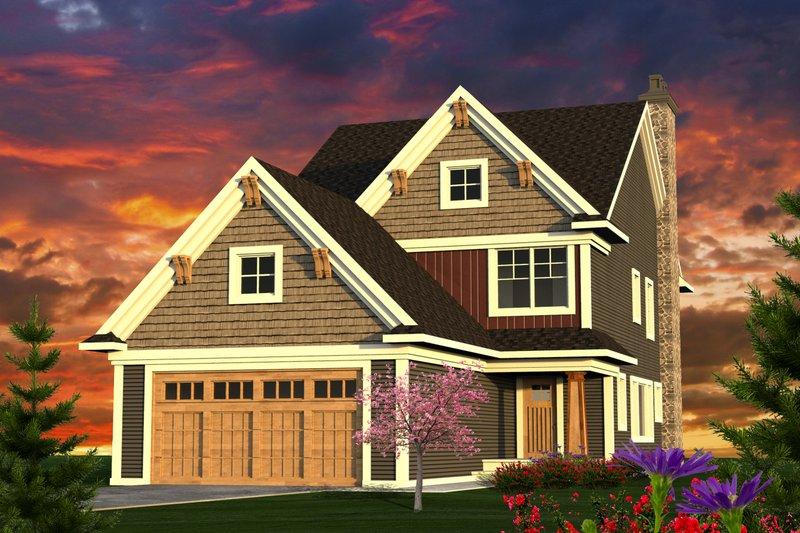 Architectural House Design - Craftsman Exterior - Front Elevation Plan #70-1221