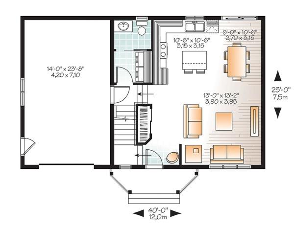 Architectural House Design - Traditional Floor Plan - Main Floor Plan #23-2624