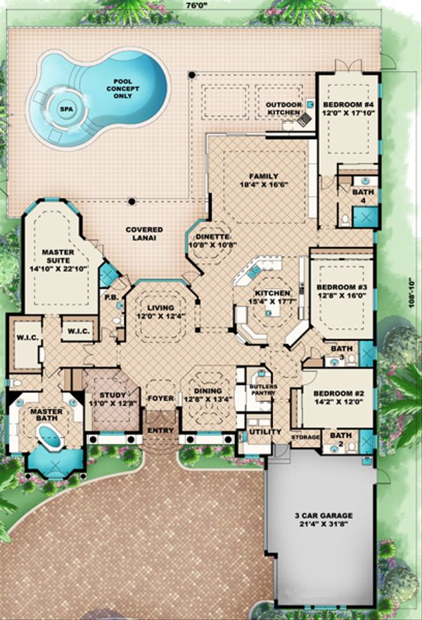 Mediterranean Floor Plan - Main Floor Plan Plan #27-420