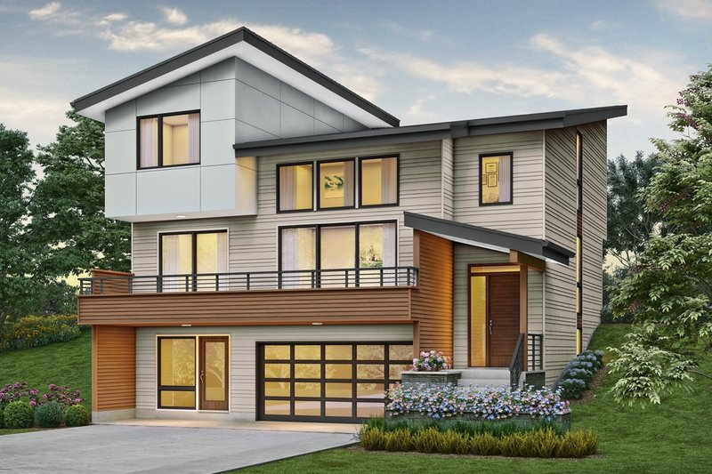Home Plan - Contemporary Exterior - Front Elevation Plan #48-1019