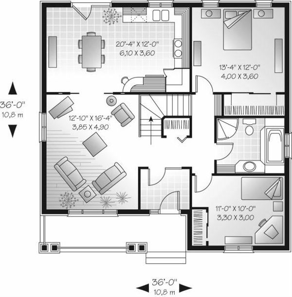 Home Plan - Traditional style house plan, main level floor plan