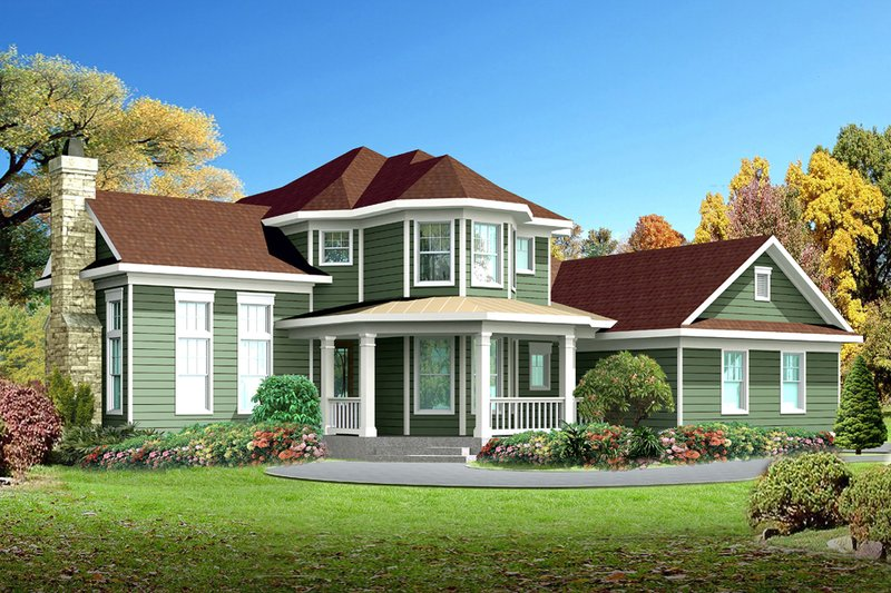 Country Style House Plan - 4 Beds 2.5 Baths 2202 Sq/Ft Plan #80-125 Exterior - Front Elevation