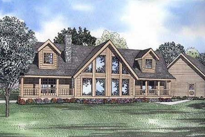 Log Style House Plan - 3 Beds 2 Baths 2521 Sq/Ft Plan #17-505 Exterior - Front Elevation