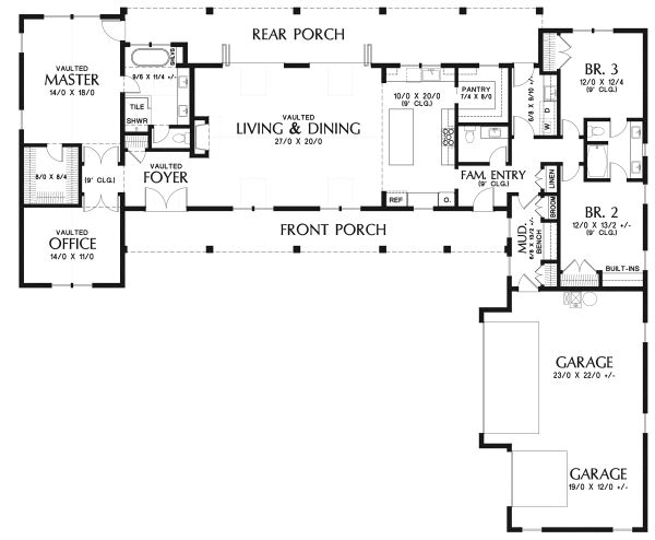 Architectural House Design - Farmhouse Floor Plan - Main Floor Plan #48-943