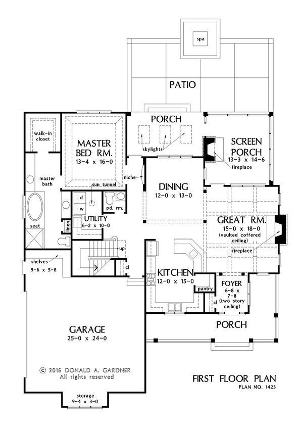Craftsman Floor Plan - Main Floor Plan Plan #929-1032