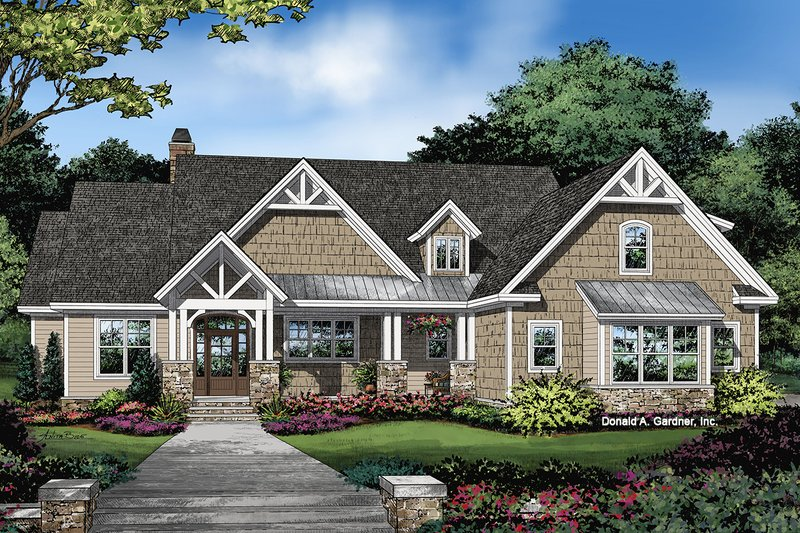 Ranch Exterior - Front Elevation Plan #929-1089