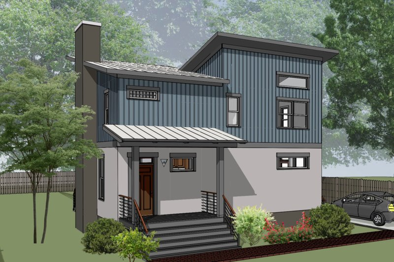Architectural House Design - Modern Exterior - Front Elevation Plan #79-296