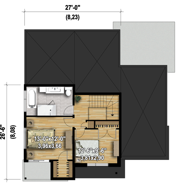 Modern Floor Plan - Upper Floor Plan Plan #25-4608