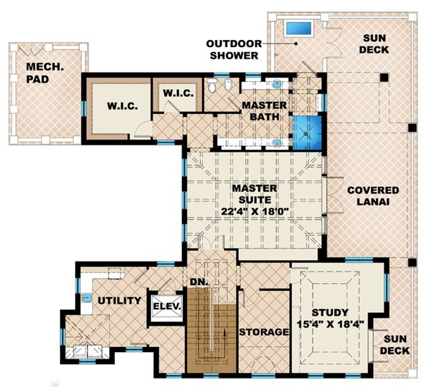 Mediterranean Floor Plan - Upper Floor Plan Plan #27-450