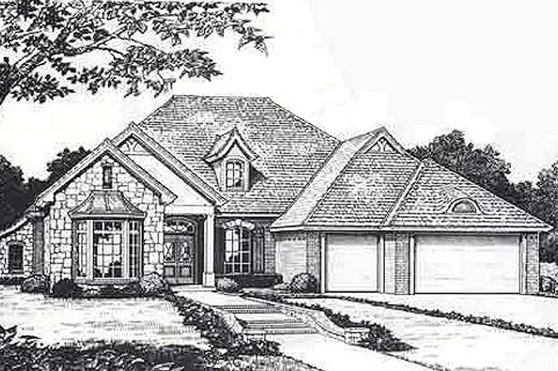 European Style House Plan - 4 Beds 2.5 Baths 2279 Sq/Ft Plan #310-812 Exterior - Front Elevation