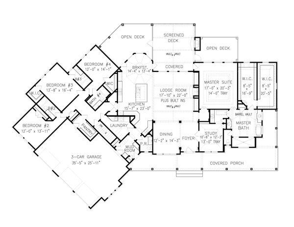 Dream House Plan - Farmhouse Floor Plan - Main Floor Plan #54-390