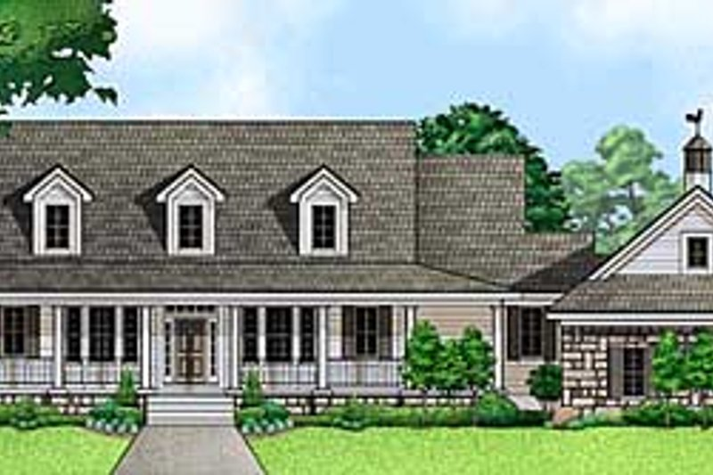 Country Style House Plan - 3 Beds 3.5 Baths 3006 Sq/Ft Plan #67-676 Exterior - Front Elevation