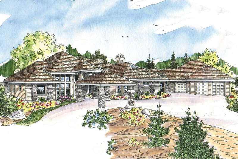 Prairie Style House Plan - 3 Beds 3.5 Baths 3412 Sq/Ft Plan #124-665 Exterior - Front Elevation