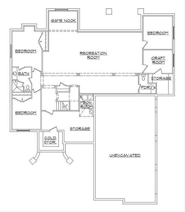 House Plan Design - European Floor Plan - Lower Floor Plan #5-467