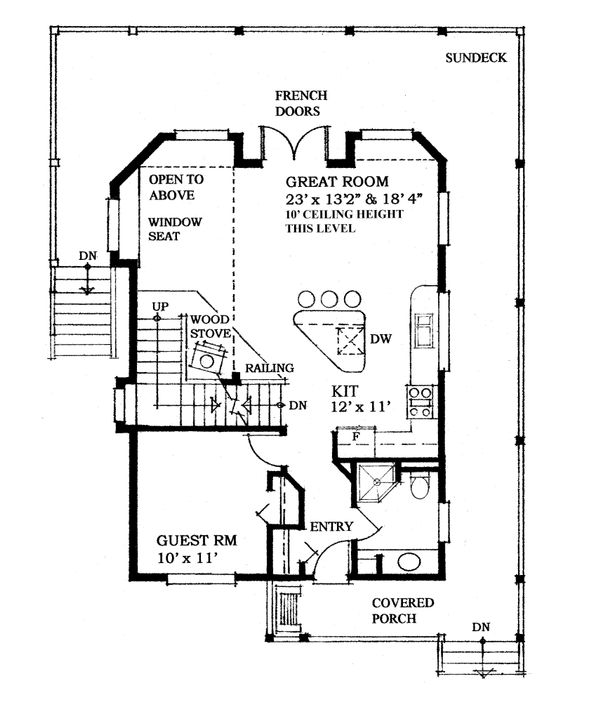 House Design - Cottage Floor Plan - Main Floor Plan #118-170