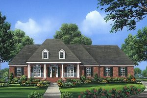 Southern Exterior - Front Elevation Plan #21-216
