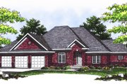 European Style House Plan - 3 Beds 3 Baths 2383 Sq/Ft Plan #70-380 Exterior - Front Elevation