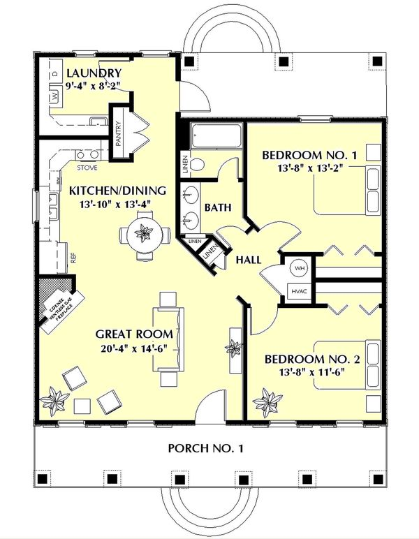 Home Plan - Southern Floor Plan - Main Floor Plan #44-148