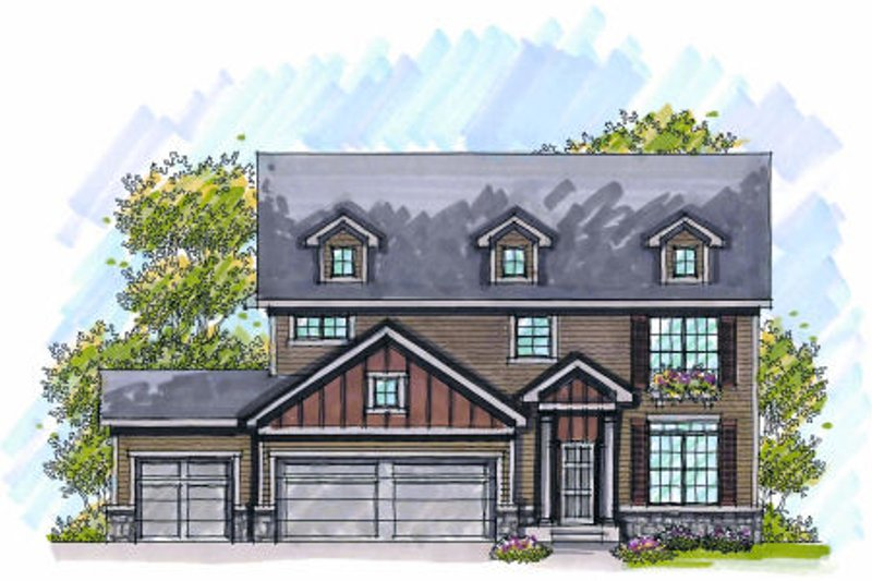 Country Exterior - Front Elevation Plan #70-989