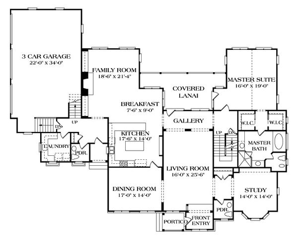 European Floor Plan - Main Floor Plan Plan #453-21