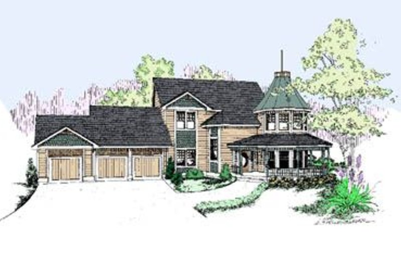 Traditional Style House Plan - 6 Beds 4 Baths 3775 Sq/Ft Plan #60-253 Exterior - Front Elevation