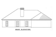 European Style House Plan - 4 Beds 2 Baths 1854 Sq/Ft Plan #17-1033 Exterior - Rear Elevation
