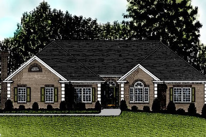 European Style House Plan - 4 Beds 2.5 Baths 2499 Sq/Ft Plan #56-189 Exterior - Front Elevation