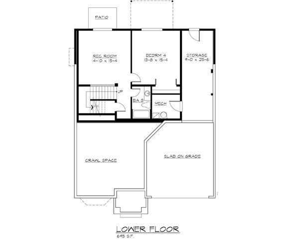 Craftsman Floor Plan - Lower Floor Plan Plan #132-219