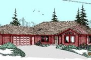 Ranch Style House Plan - 4 Beds 2 Baths 2443 Sq/Ft Plan #60-261 Exterior - Front Elevation