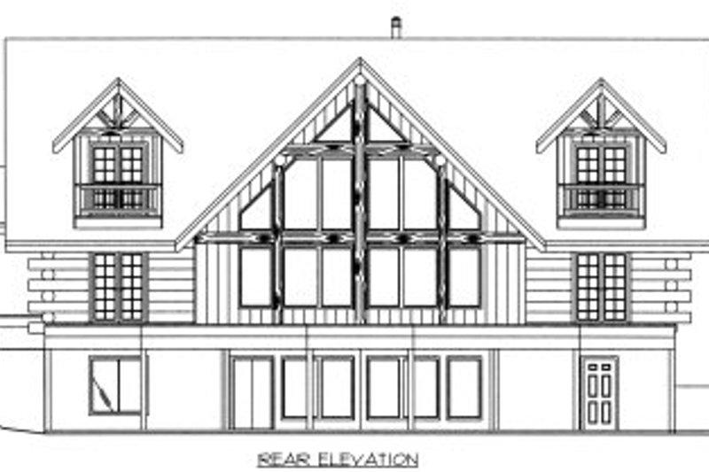 Log Exterior - Rear Elevation Plan #117-411 - Houseplans.com