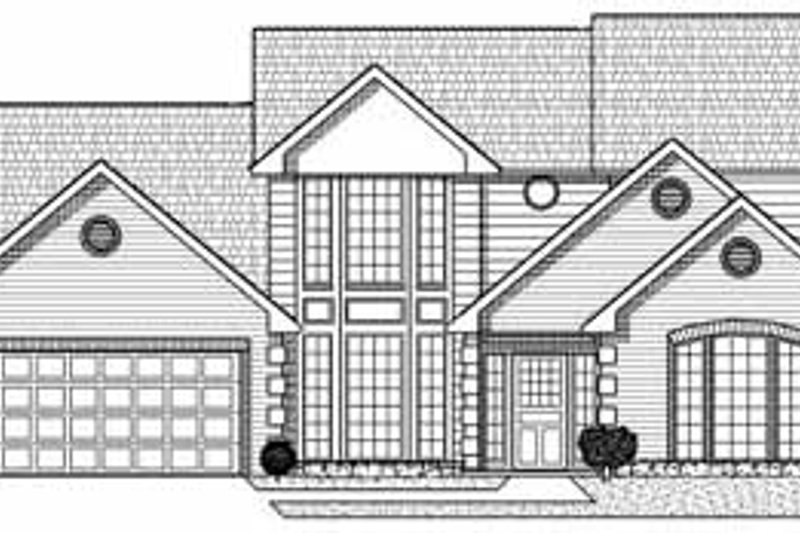 Traditional Style House Plan - 4 Beds 3.5 Baths 3410 Sq/Ft Plan #65-128 Exterior - Front Elevation