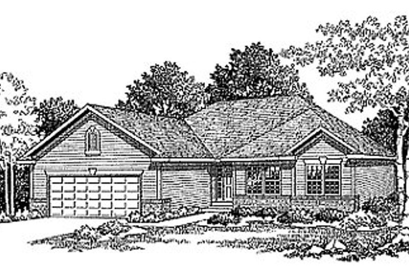 Traditional Style House Plan - 3 Beds 2 Baths 1370 Sq/Ft Plan #70-120 Exterior - Front Elevation
