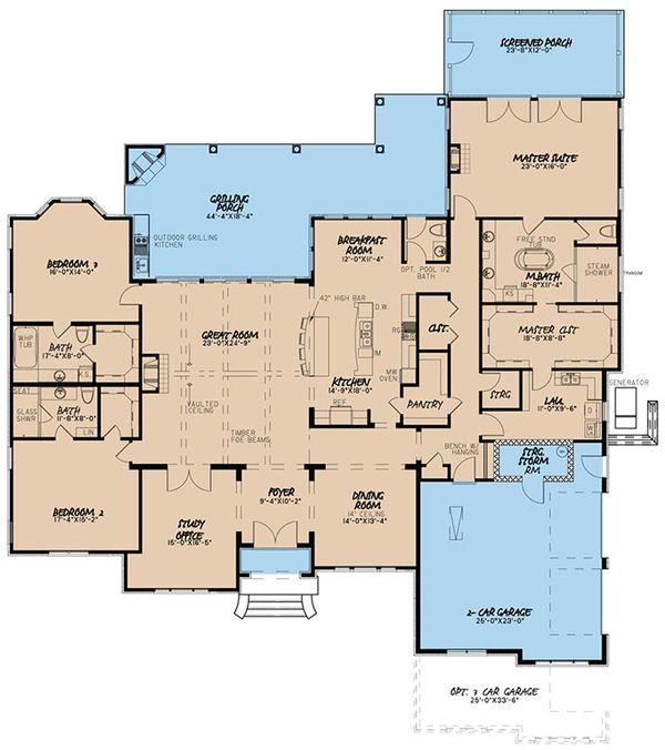 European Floor Plan - Main Floor Plan Plan #923-58