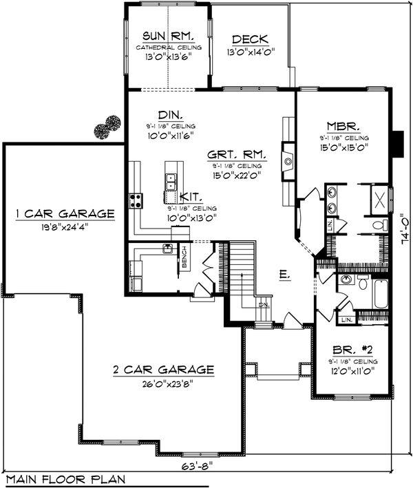 Craftsman Floor Plan - Main Floor Plan Plan #70-1072