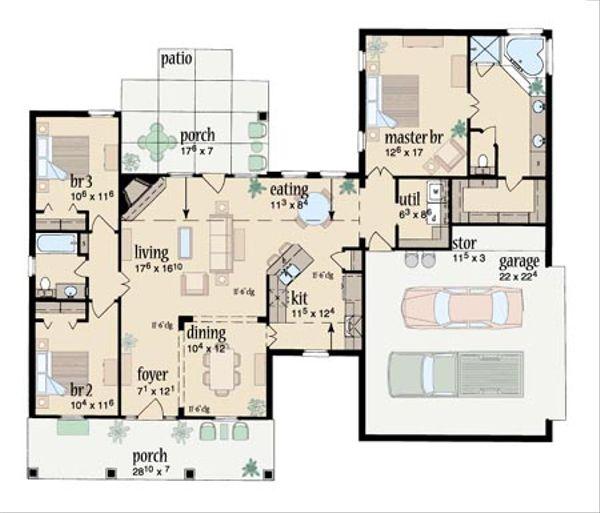 Southern Floor Plan - Main Floor Plan #36-425